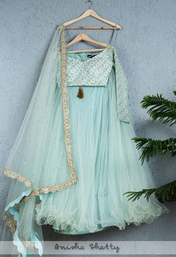 AQUA SKY BLUE NET TULLE LEHENGA WITH GOTA PATTI BLOUSE & DUPATTA