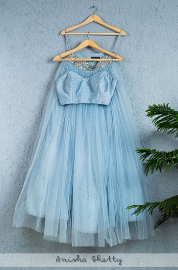 BLUEBERRY GRAY TULLE LEHENGA WITH BLUEBERRY BUSTIER BLOUSE - WaliaJones