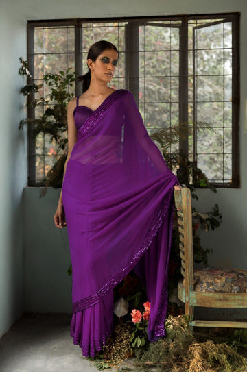 Purple Anamika Saree