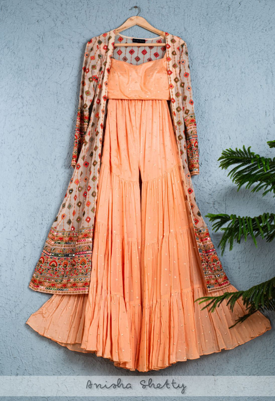 CORAL PEACH SHARARA SET WITH MULTICOLR THREADWORK JACKET