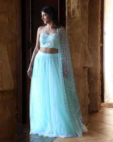 MINT GREEN BUSTIER WITH PEARL EMBROIDERY, TULLE SKIRT & DUPATTA