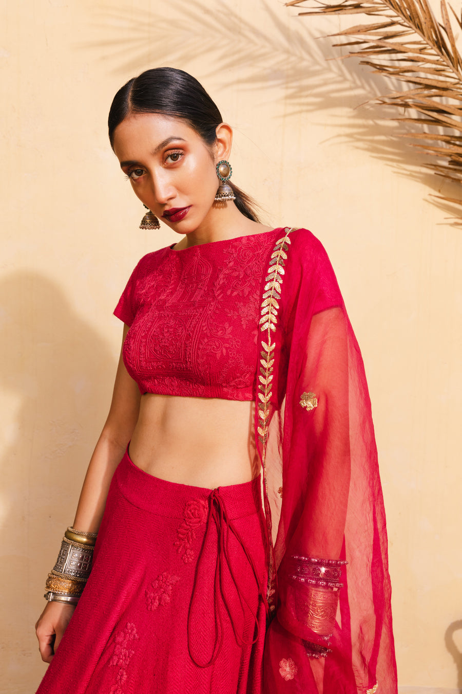 Bohemian Bridal Red & Gold Lehenga Set - WaliaJones
