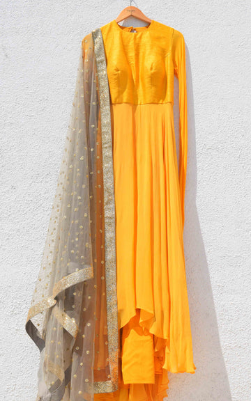 Yellow Anarkali & Grey Dupatta - WaliaJones