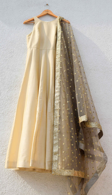 Ivory Anarkali with Slate Grey Sequence Dupatta - WaliaJones