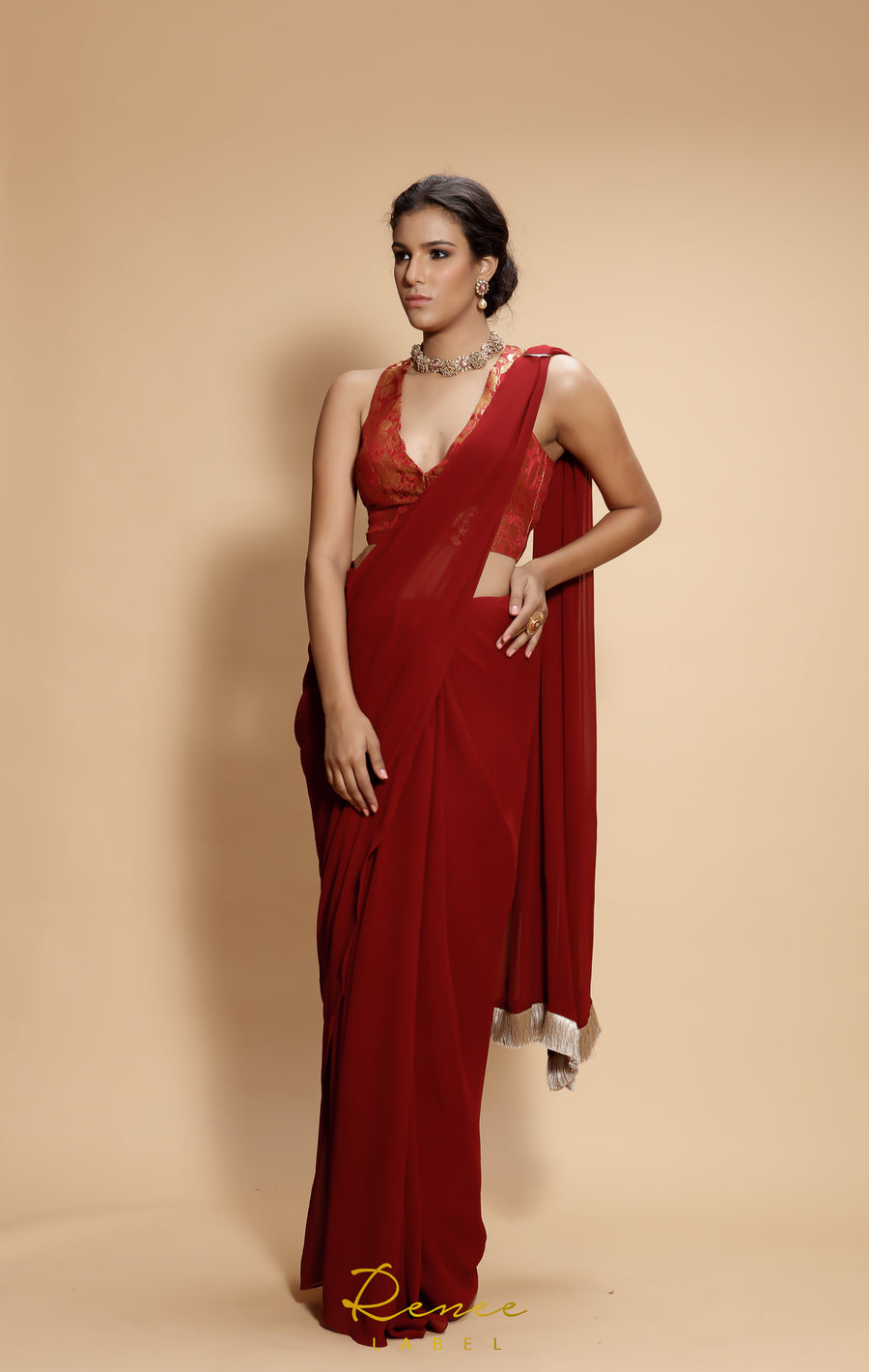 Gulnar Red Saree Set - WaliaJones