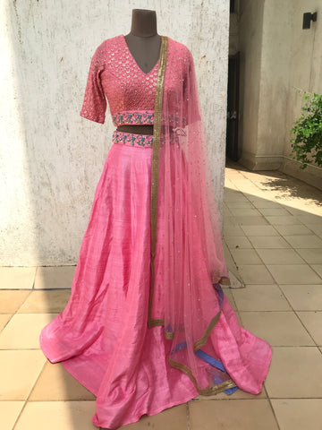 The Pink and Blue Carnation Lehenga Set