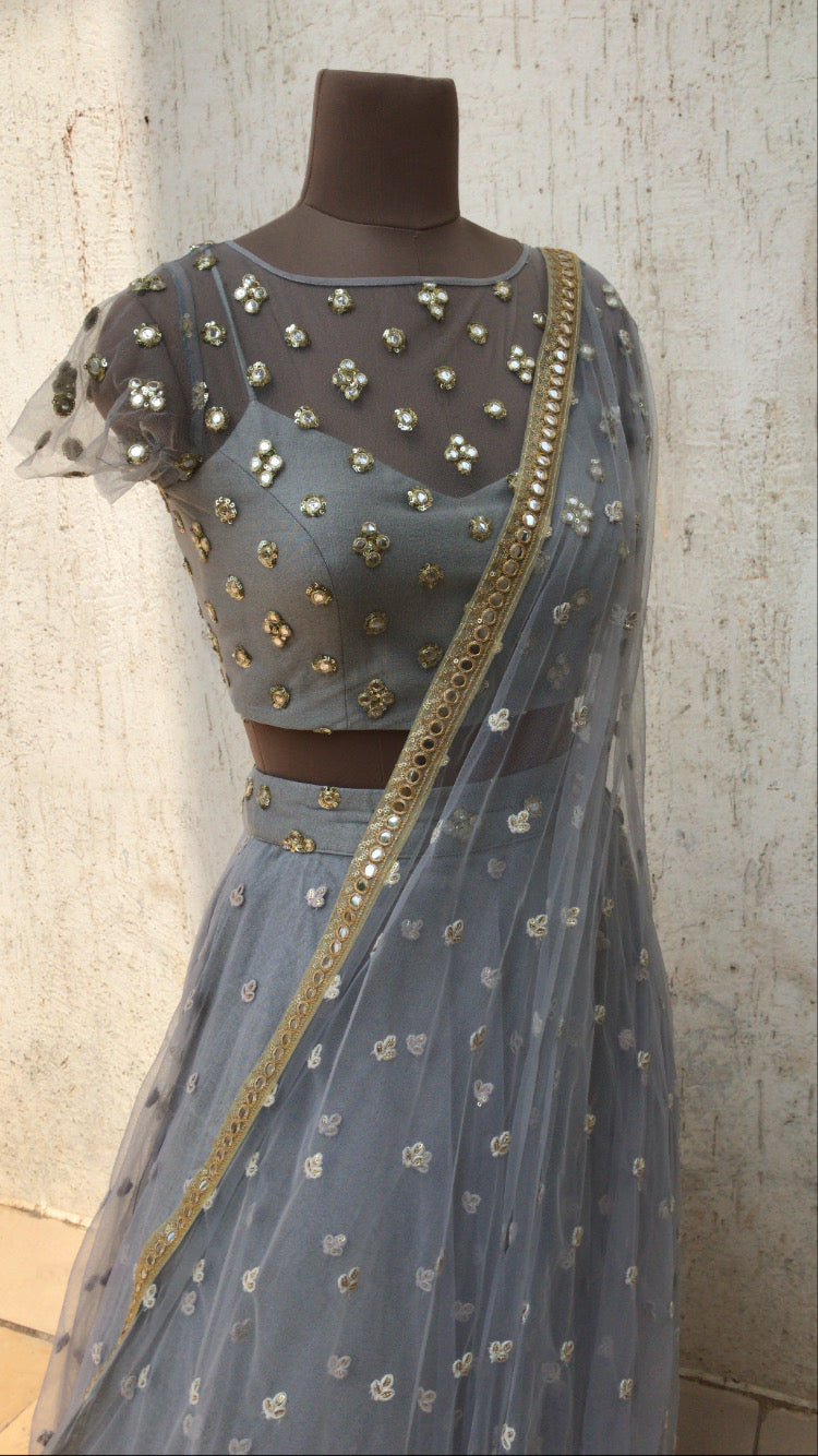 The Grey Anastasia Lehenga Set