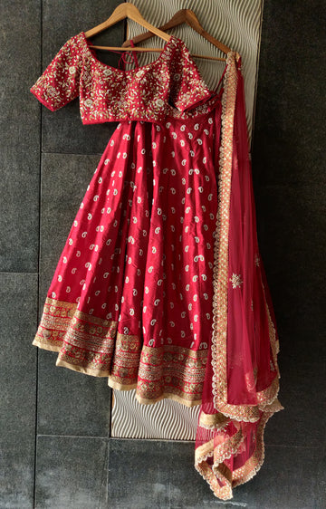 Red Bridal Paisley Work Lehenga