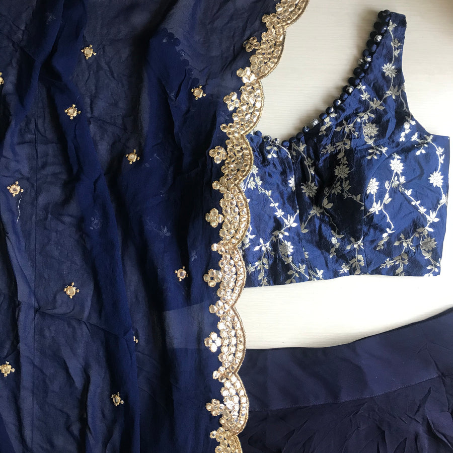 The Midnight Blue Jaaldaar Lehenga Set