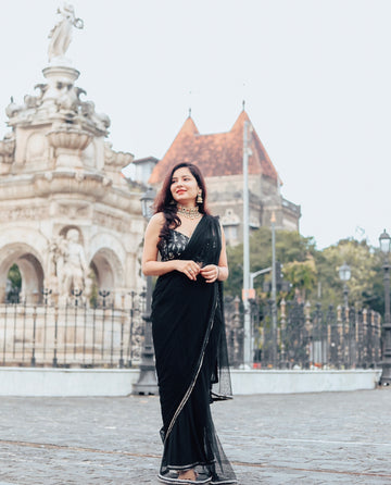 The Black Meadow Saree Set