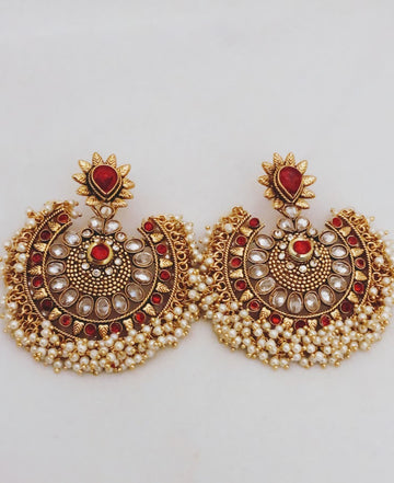Sitare Red & Gold Statement Earrings