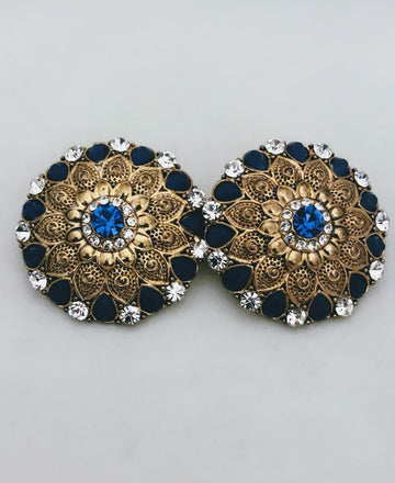 Mumbai Gold & Blue Earrings