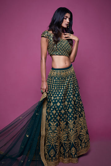 Dark Green & Gold Bridal Lehenga Set - WaliaJones