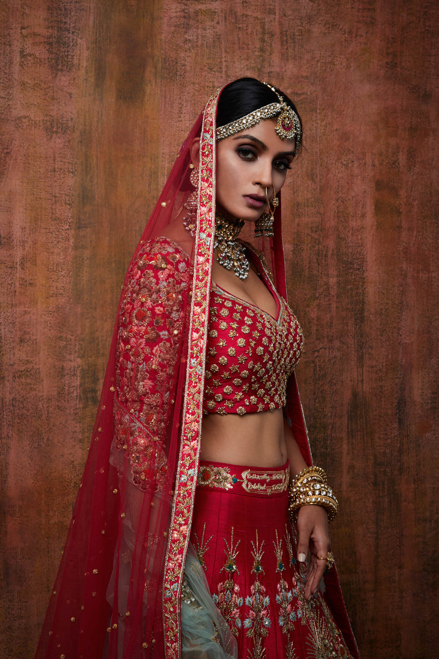 Red & Gold Bridal Lehenga Set - WaliaJones