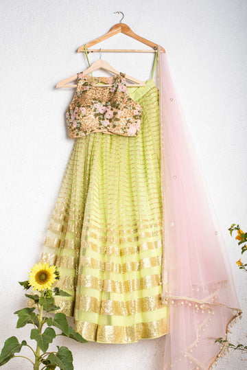 Lemon Green Lehenga Set with Floral Blouse - WaliaJones
