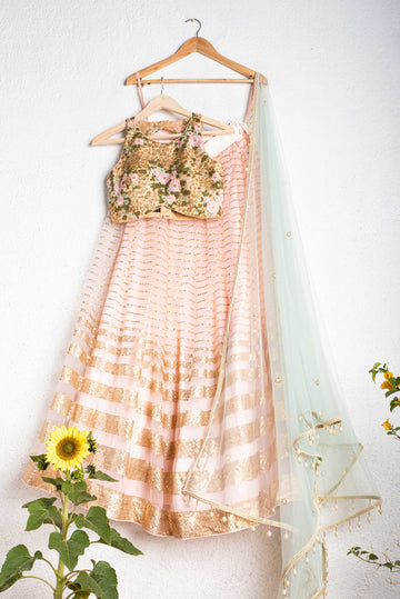 Rose Pink Lehenga Set with Floral Blouse - WaliaJones