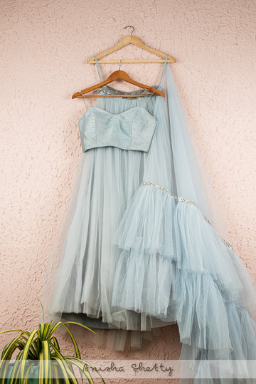 BLUEBERRY GRAY TULLE LEHENGA WITH BLUEBERRY BUSTIER BLOUSE & FRILL DUPATTA