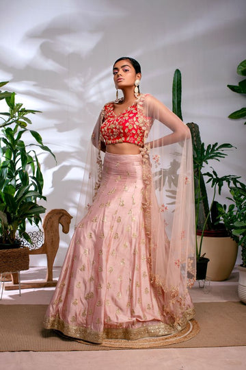 BLUSH PINK DUPION LEHENGA WITH RED ZARDOSI  BLOUSE & BLUSH PINK ZARDOSI DUPATTA