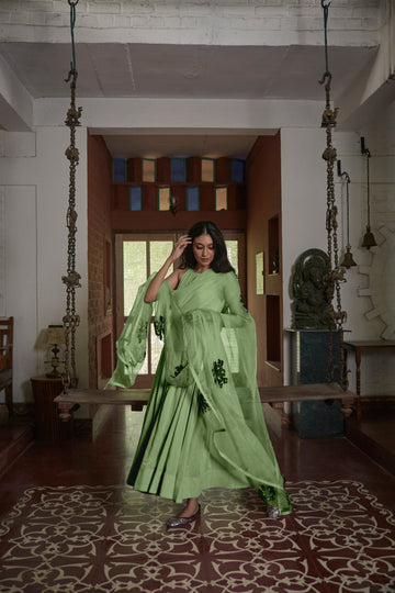 Green Gulabh Anarkali with Organza Phool Dupatta - WaliaJones