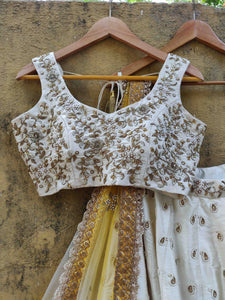 Ivory Ruffle Lehenga Set with Shaded Dupatta - WaliaJones