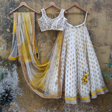 Ivory Bhutti Georgette Lehenga & Yellow Shaded Dupatta - WaliaJones