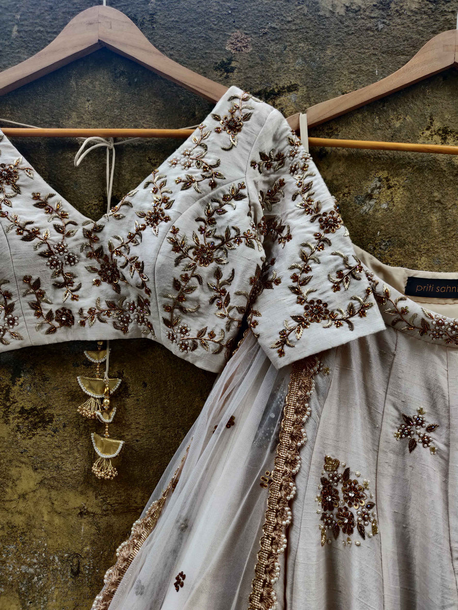 Off-White Raw Silk Bridal Lehenga Set - WaliaJones