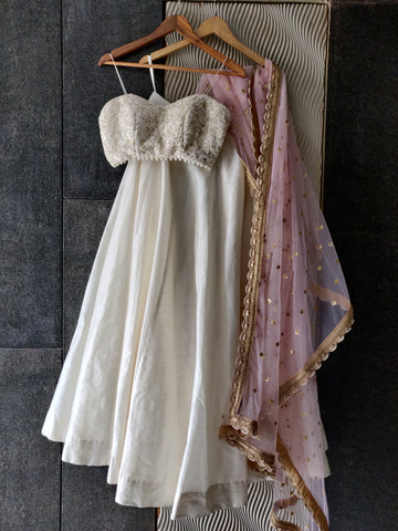 Ivory & Pink Threadwork Bustier & Lehenga Set