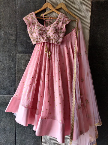 Rose Pink Embroidered Lehenga Set