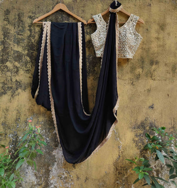 Black Georgette Saree - WaliaJones
