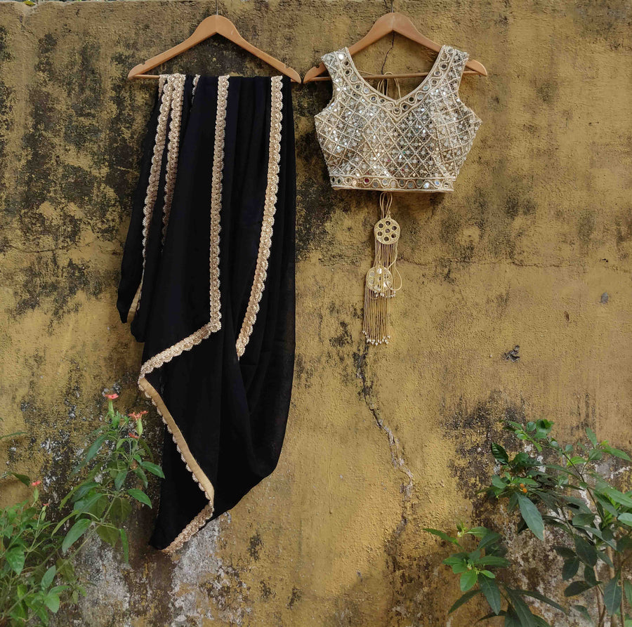 Black Georgette Saree & Blouse - WaliaJones