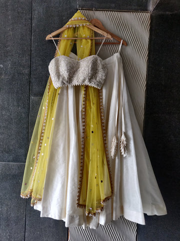 Ivory & Yellow Threadwork Bustier & Lehenga Set