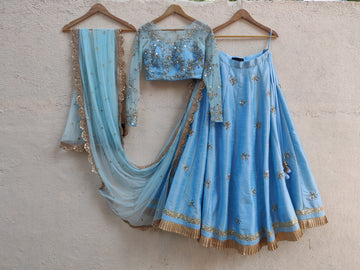 Powder Blue Mirror & Thread Embroidered Lehenga Set