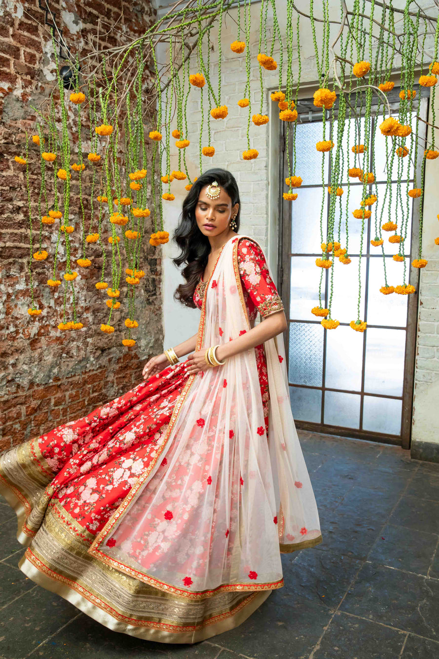 Red Raw Silk Floral Lehenga Set