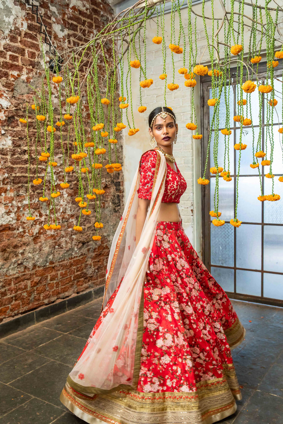 Soft Pink & Red Raw Silk Floral Lehenga Set - WaliaJones