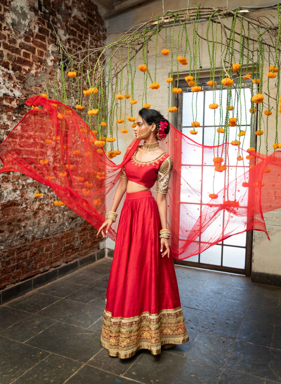 Red Raw Silk Lehenga Set - WaliaJones