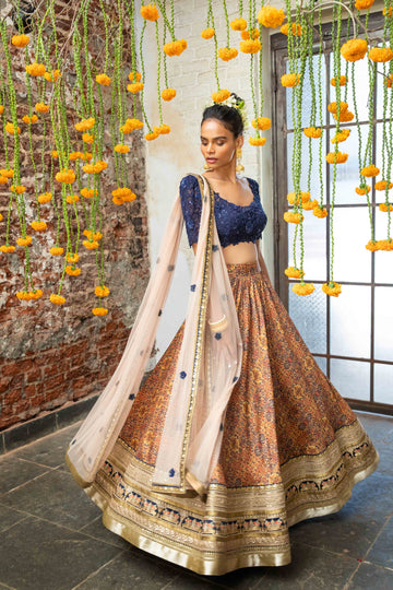 Navy Blue & Orange Tribal Print Lehenga Set - WaliaJones