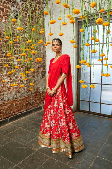 Red Raw Silk & Floral Lehenga Set - WaliaJones
