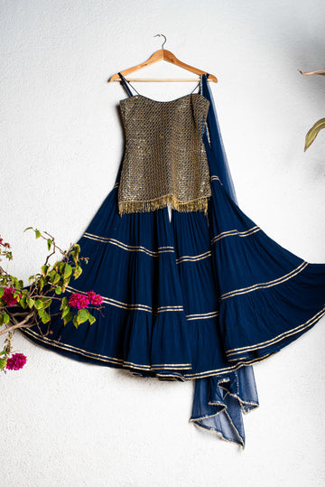 Midnight Blue & Gold Sharara Set - WaliaJones