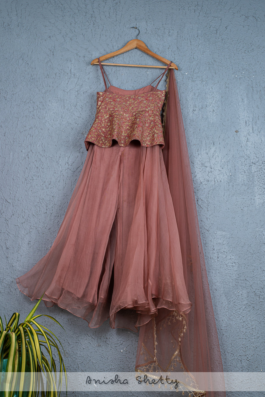 DUSKY ROSE FLARED PALLAZO WITH PEPLUM BLOUSE & DUPATTA