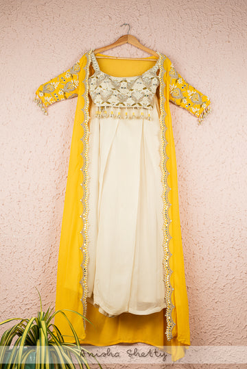 IVORY BLOUSE AND PLEATED PALLAZO WITH YELLOW EMBROIDERED CAPE