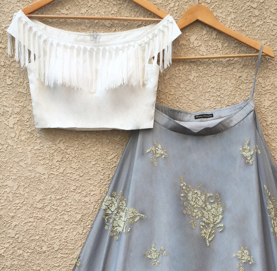 White Off-Shoulder Blouse & Grey Net Lehenga - WaliaJones