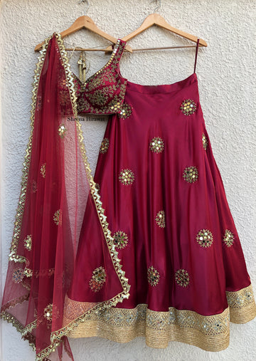Red Crimson Mirror Bridal Lehenga Set - WaliaJones