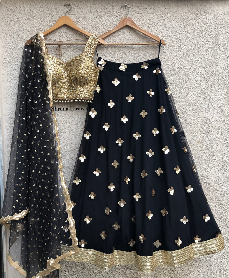 Mirror Work Blouse & Black Gold Lehenga Set - WaliaJones