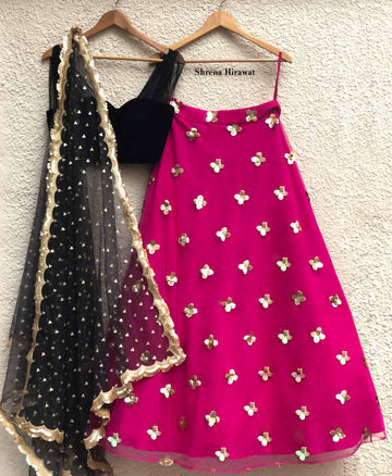 Black Velvet Blouse & Hot Pink Lehenga Set - WaliaJones
