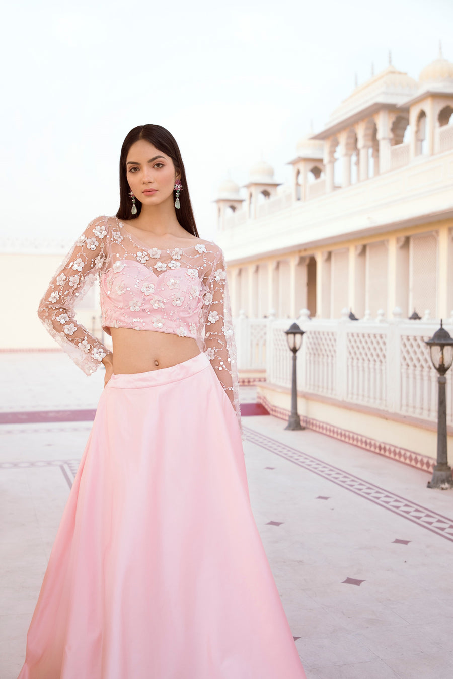 ROSE PINK BLOUSE WITH PEARL EMBROIDERY & SATIN SKIRT