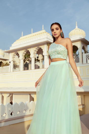 MINT GREEN ONE SHOULDER BLOUSE WITH PEARL EMBROIDERY & TULLE SKIRT