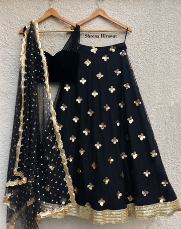 Velvet Blouse & Black Gold Skirt Set with Dupatta - WaliaJones
