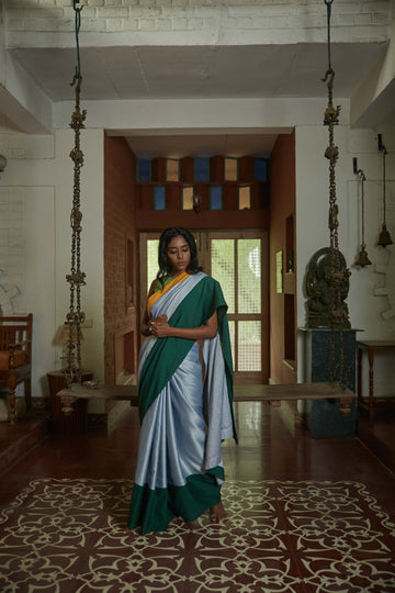 Silk Patti Green & Yellow Saree - WaliaJones