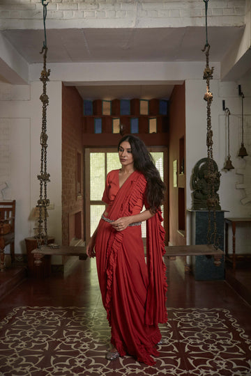 Rust Red Belt Ruffle Ghungroo Saree - WaliaJones