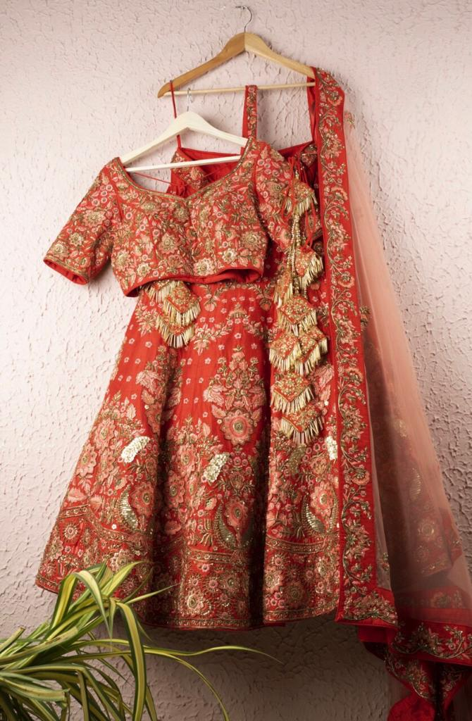 Red & Pink Full Hand Embroidered Bridal Lehenga